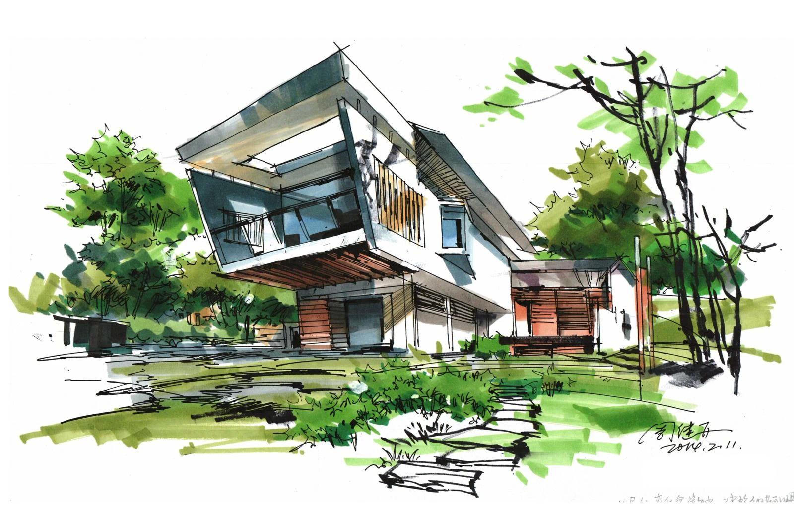 三石手绘,建筑手绘,建筑画,手绘图片,手绘效果图,马克笔上色,建筑设计