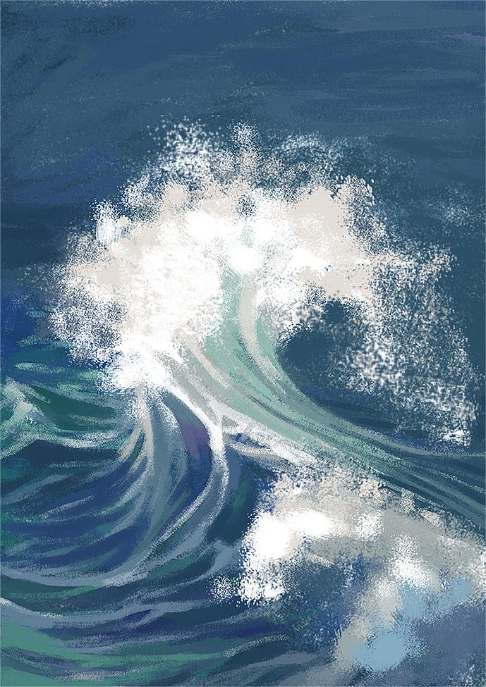 海浪|插画|插画习作|晴山之川 - 原创作品 - 站酷