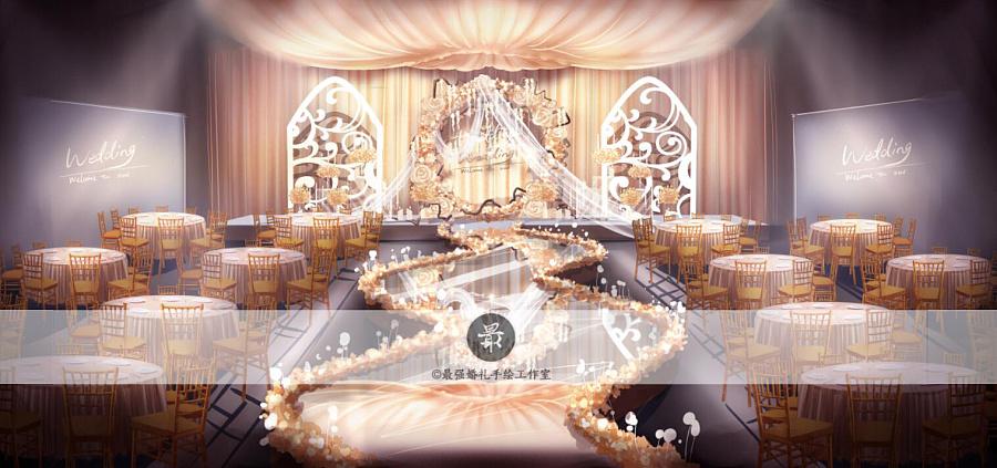 【婚礼手绘】电脑手绘—香槟色厅内效果图