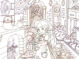 出口的拼图产品-童话插画《灰姑娘》草稿