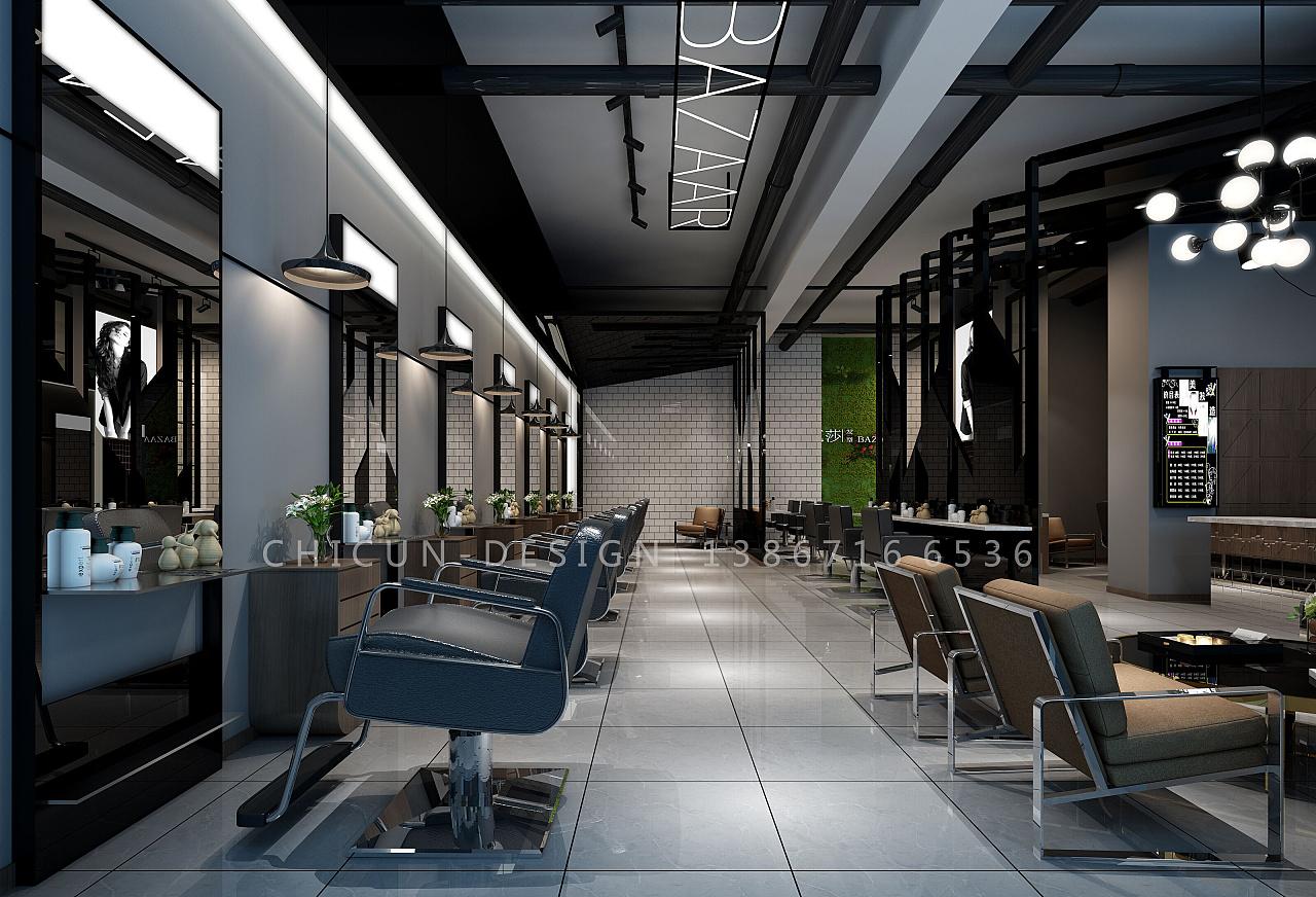 尺寸设计|芭莎发型理发店设计 工业风发廊设计效果图