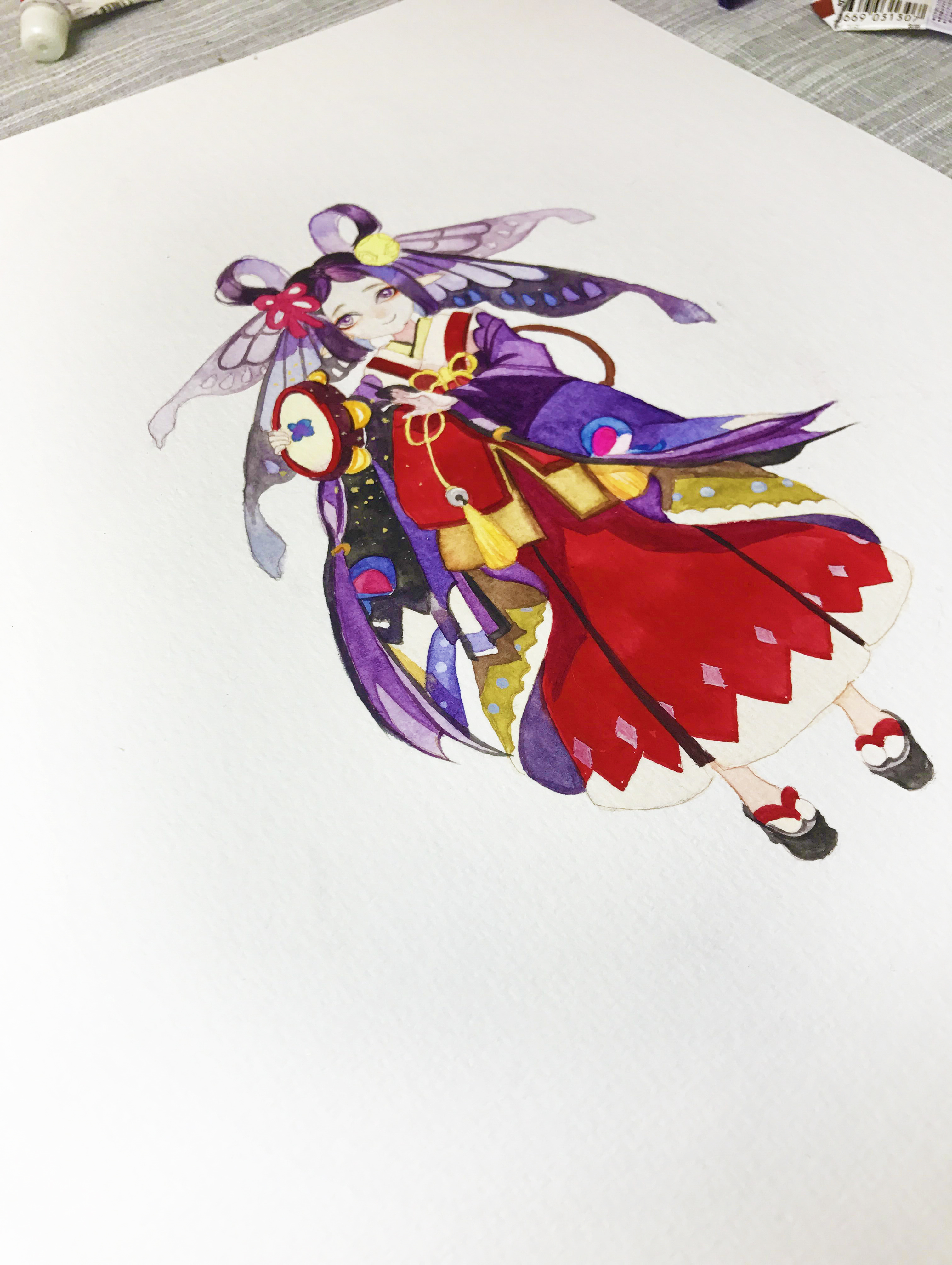 水彩手绘--阴阳师 蝴蝶精