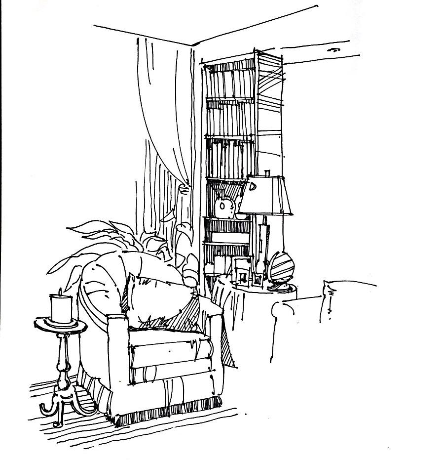 手绘线稿图片_室内手绘单体_室内家具单体手绘线稿_室内手绘单体线稿