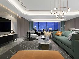北碚龙湖紫云台千山阅装修,大平层轻奢风设计效果图
