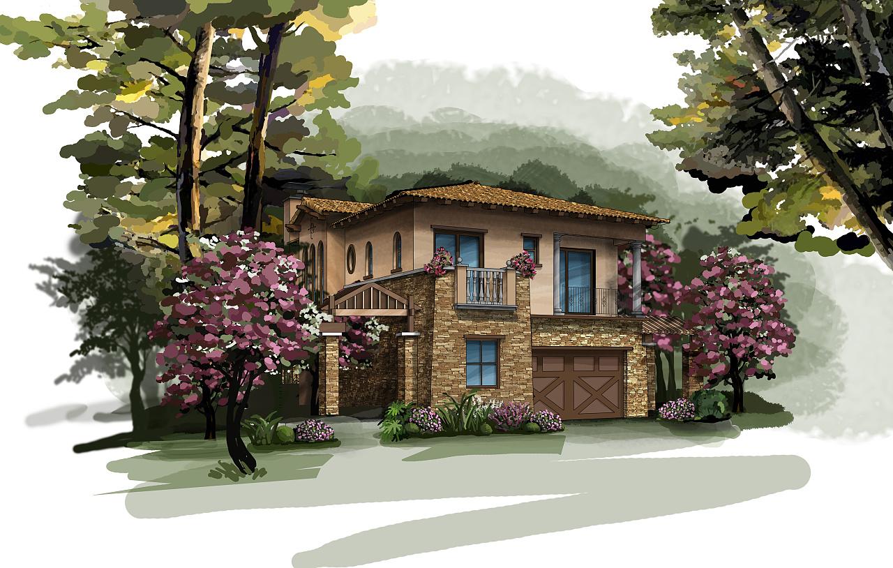 南山高爾夫別墅手繪效果圖|空間|建筑設計|binbin王