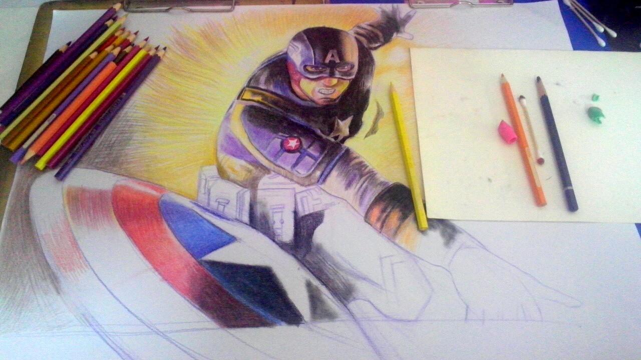 漫威英雄速绘视频,先拿美国队长热热身,加进了一些我前些日子画的彩铅