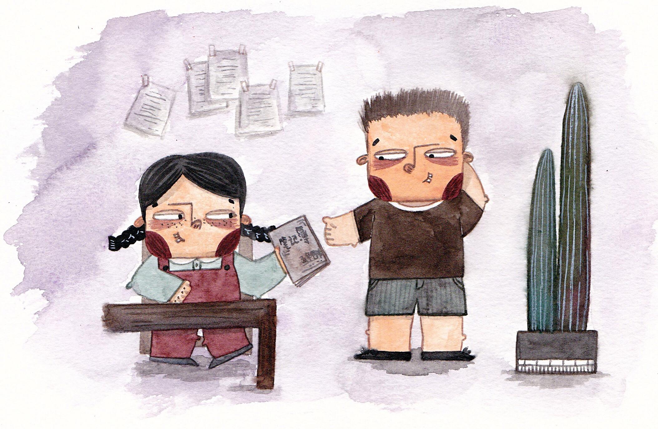 �m��O8_小屁孩时追女生那些蠢蠢的小事|插画|儿童插画|白蜷