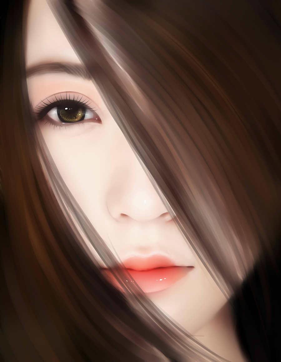 长发美女照片转手绘 手绘