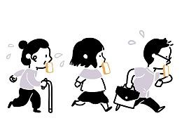 一组《清早出门去》插画