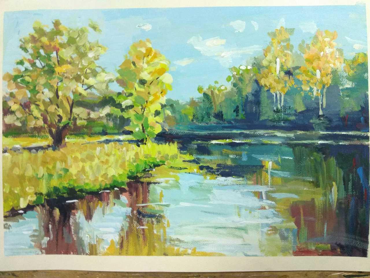 水粉风景画临摹囹�a_水粉风景|其他|墙绘/立体画|小豆豆瓣儿 - 原创作品
