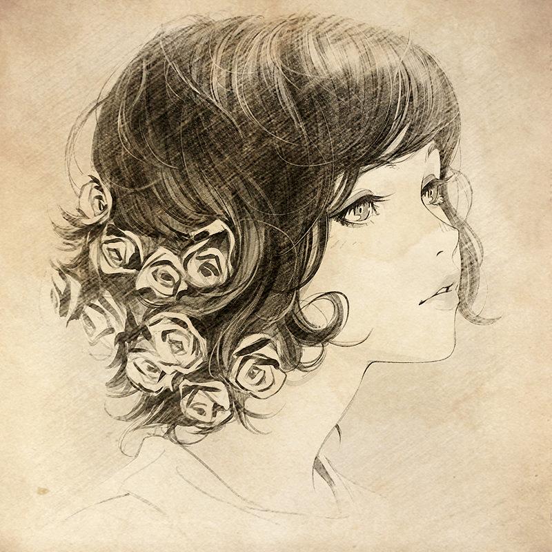 卷发女孩手绘分享展示