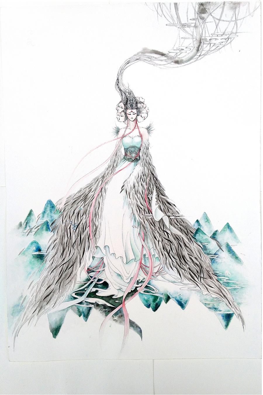 国风线体手绘插画《山海经》