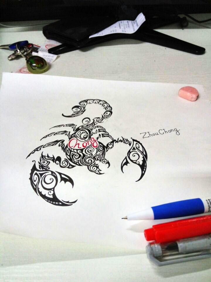 蝎子图案手绘练习|绘画习作|插画|虫大虫