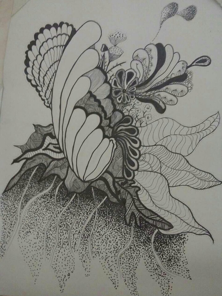 手绘作品(黑白装饰画)