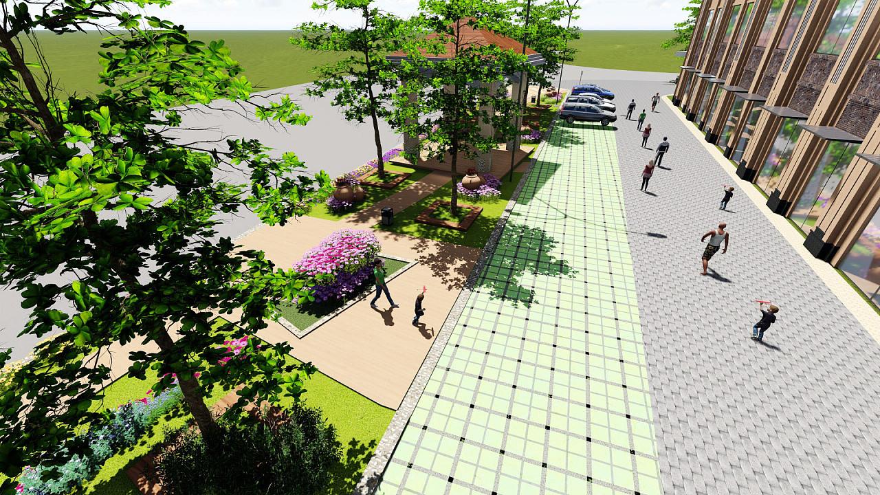 临街景观带设计局部效果图
