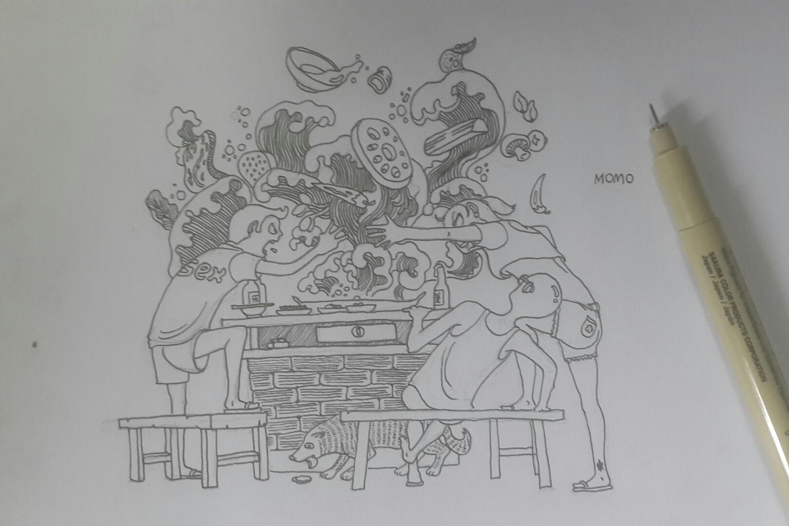 笔手绘火锅素材