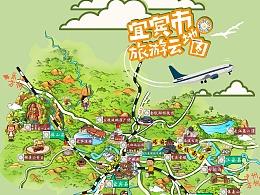 宜宾市旅游局定制手绘地图