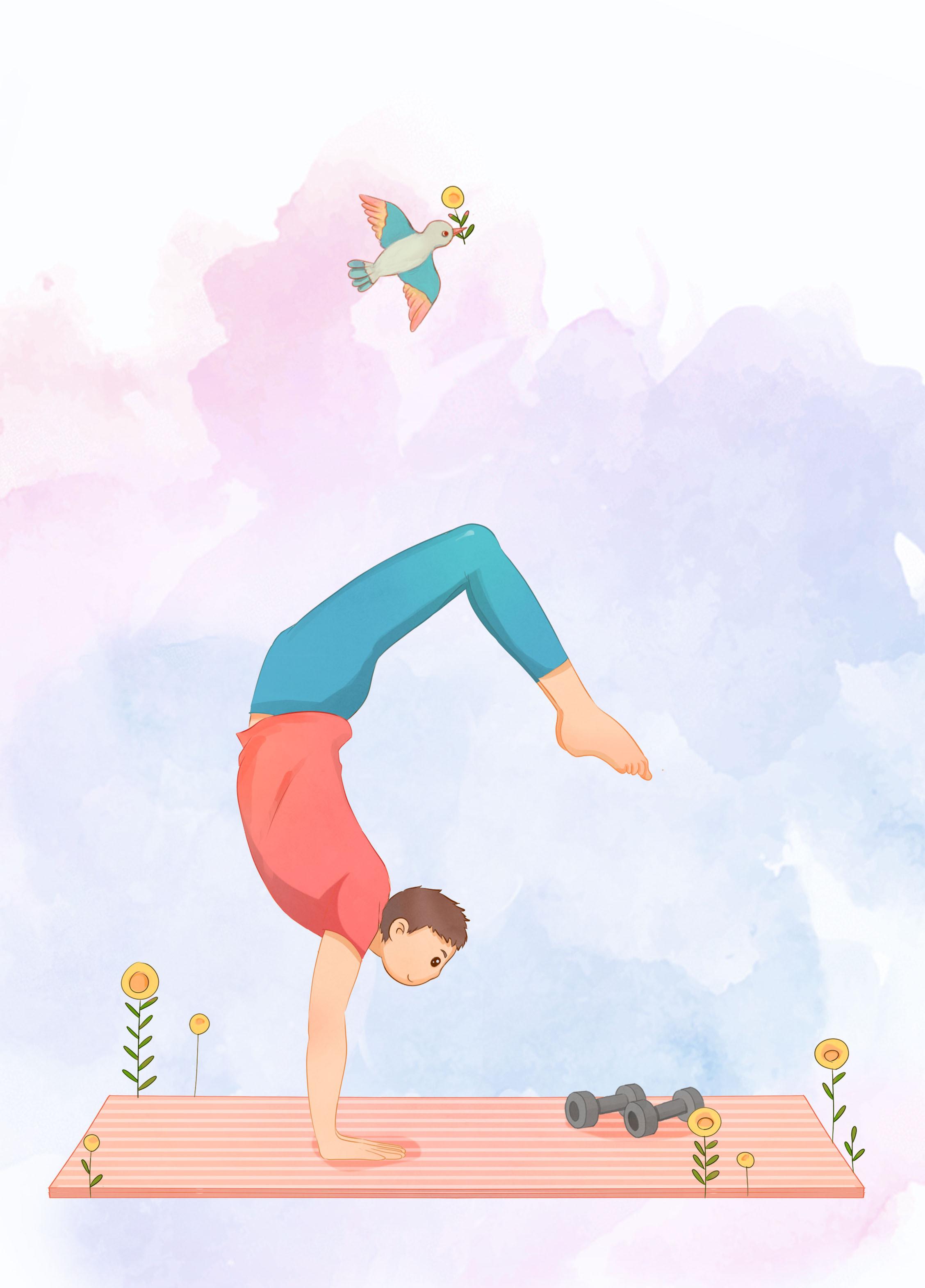 瑜伽的卡通图片