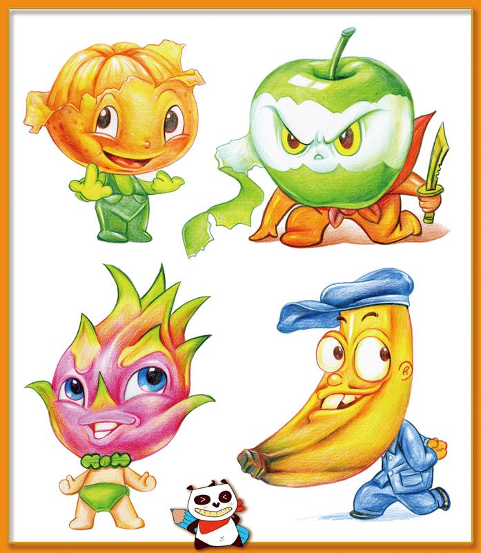 彩铅卡通水果造型