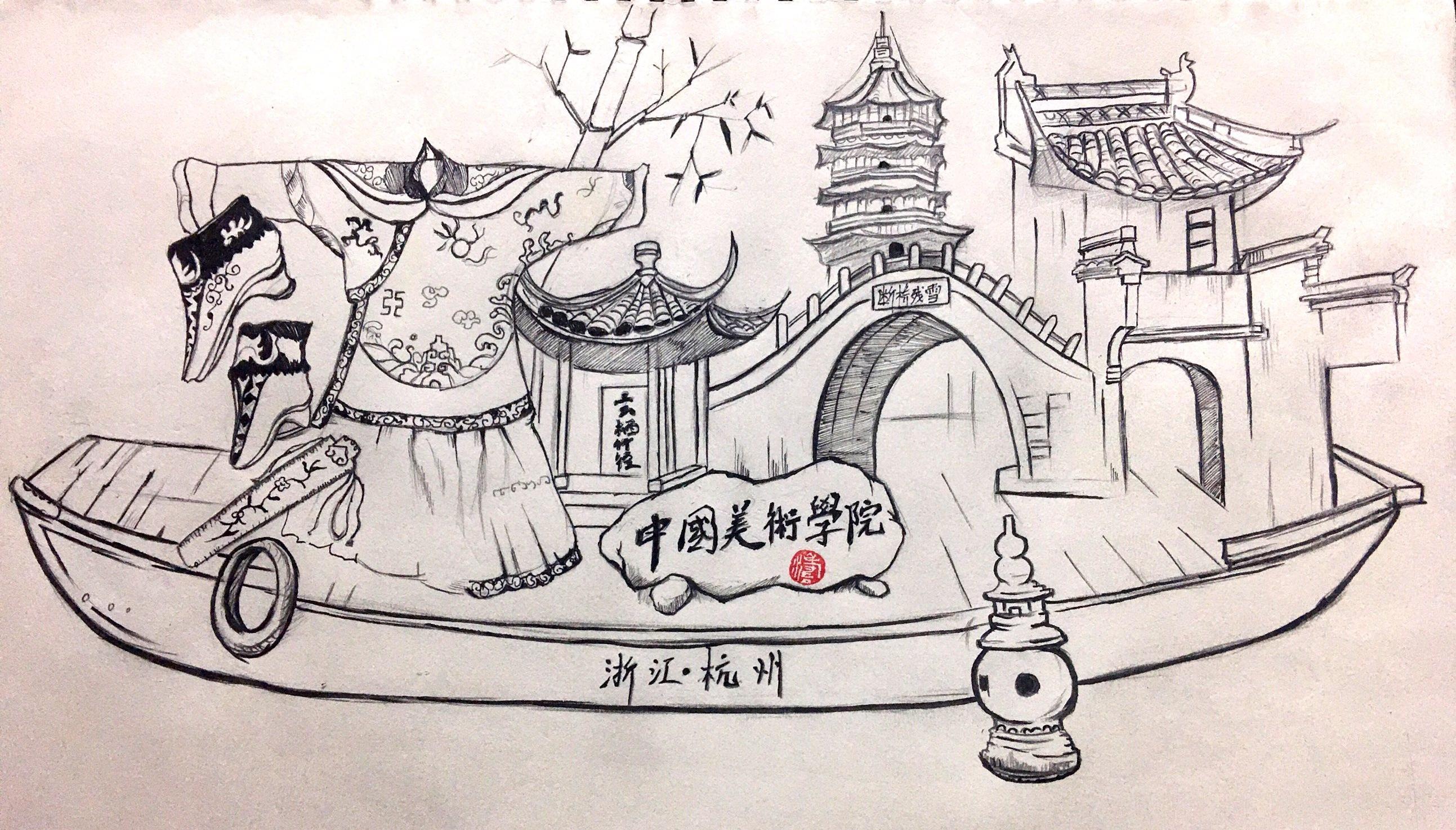 上海 苏州 杭州 考察作业手绘