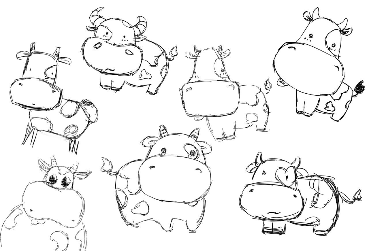 奶牛怎么画简笔画图片