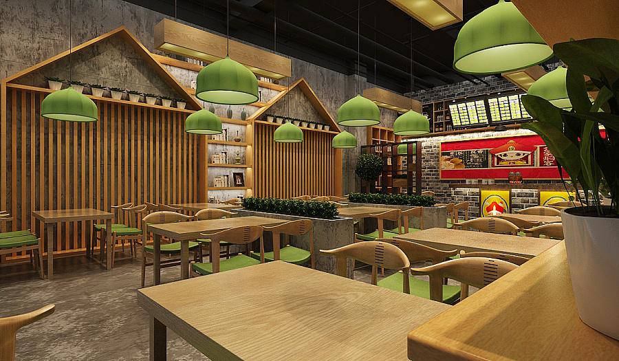 中式快餐店面设计 |室内设计|空间|餐饮设计 - 原创图片