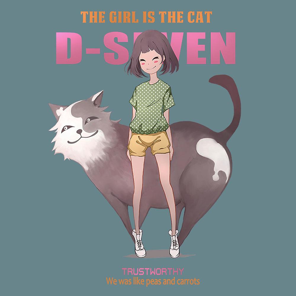 服装图案设计(绅士狼,猫和少女)