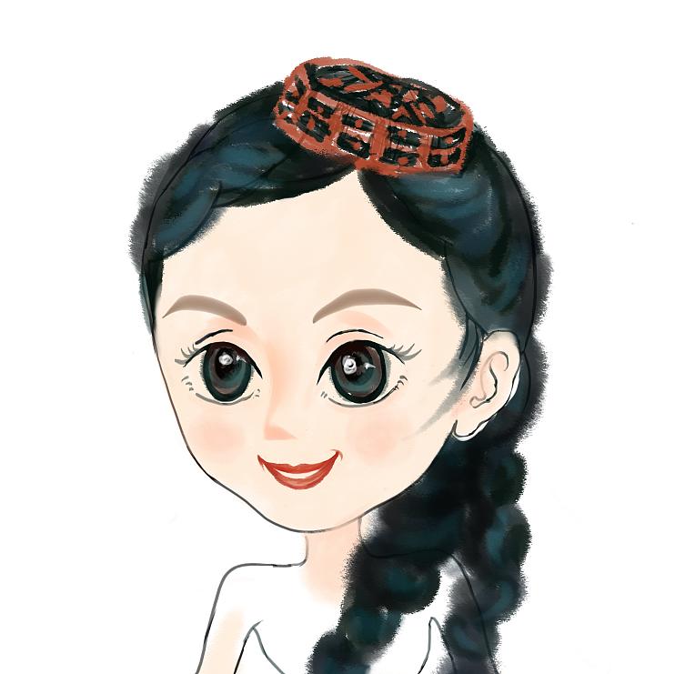 新疆手绘卡通人物