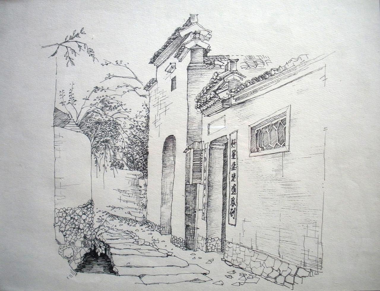 西递宏村速写_大二安徽写生时的几张风景速写|纯艺术|速写|欢子_纯手绘 - 原创 ...