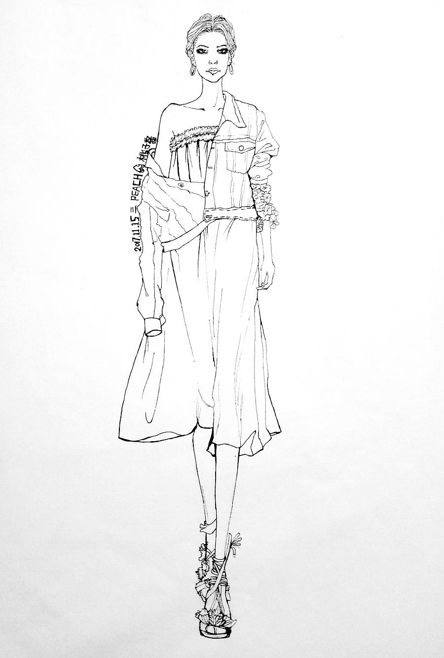 手绘服装效果图一张