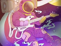 太空之旅&艾比象插画