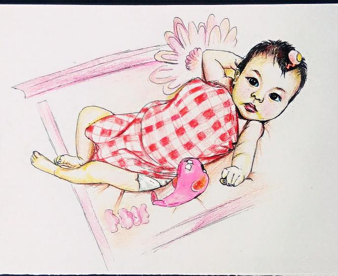 手绘彩铅人物|绘画习作|插画|紫玉专属