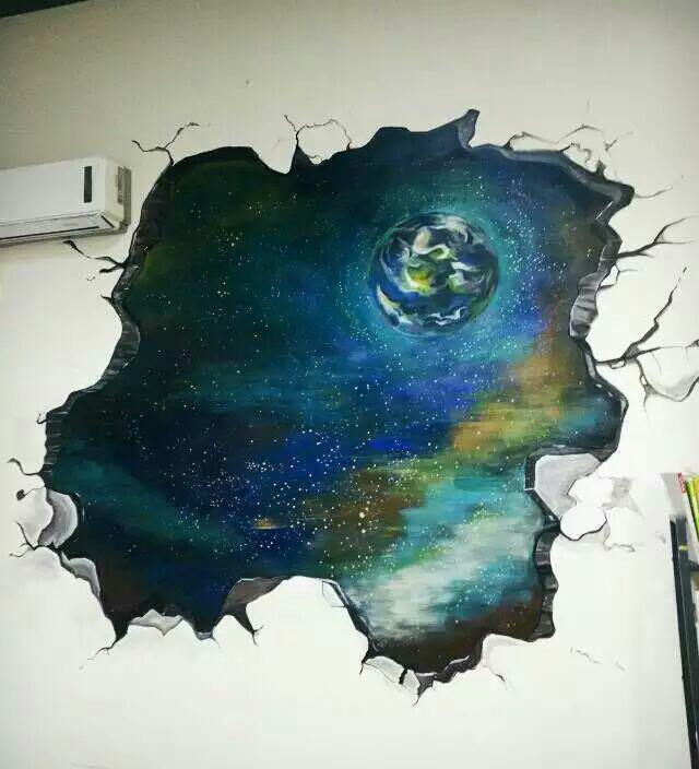 办公墙面的星空手绘墙