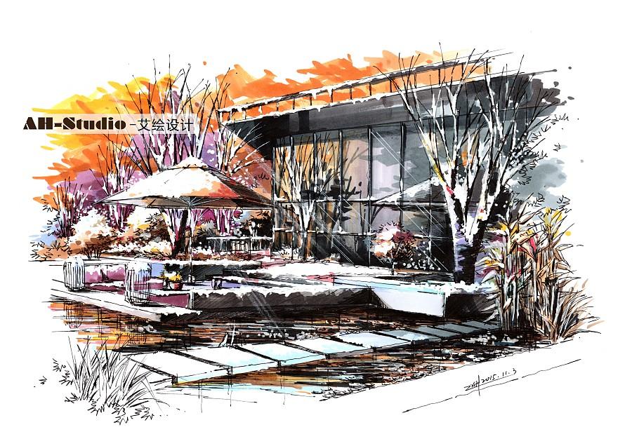 艾绘设计景观设计表现手绘冬日暖阳气氛表正向建筑设计图片