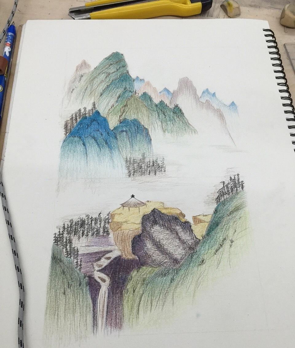 简单手绘作品#山水画#|纯艺术|彩铅|梦婷欧哟 - 原创
