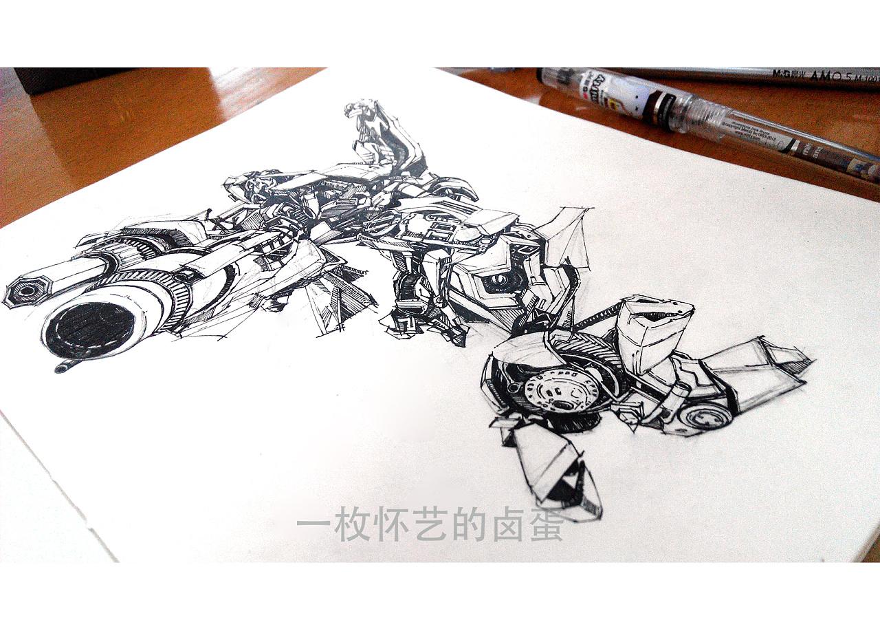 变形金刚之大黄蜂|纯艺术|钢笔画|一枚怀艺的卤蛋