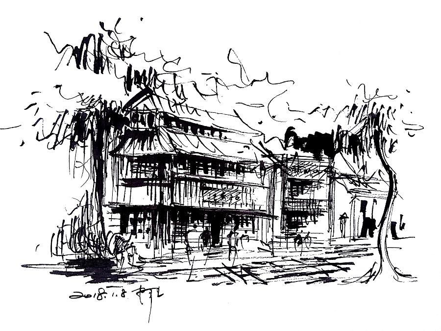 速写建筑风景速写阿王速写钢笔画