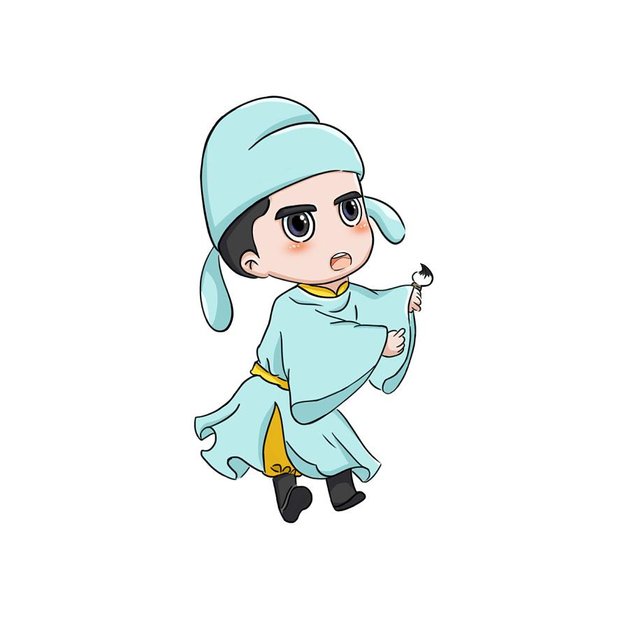 李白卡通人物手绘|商业插画|插画|one5583