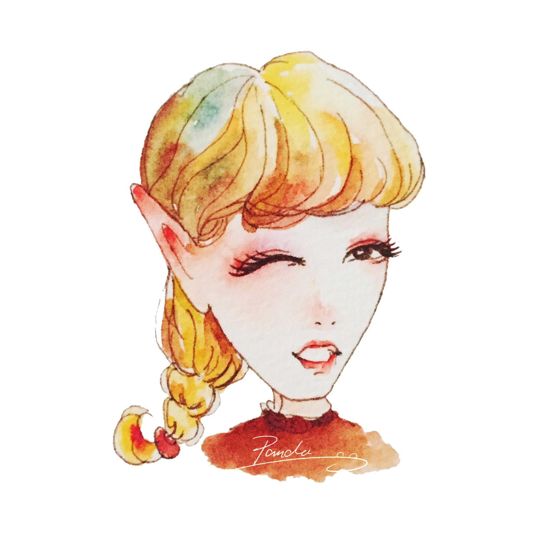 水彩手绘卡通头像