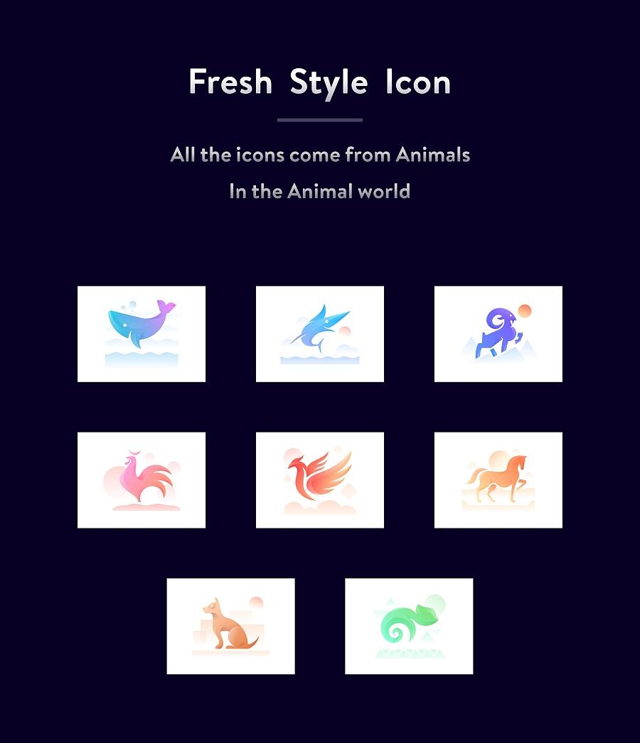 sa9527-由动物世界联想的一套图标设计