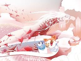 【以梦为马、云端生活】比亚迪云巴、云轨创意插画