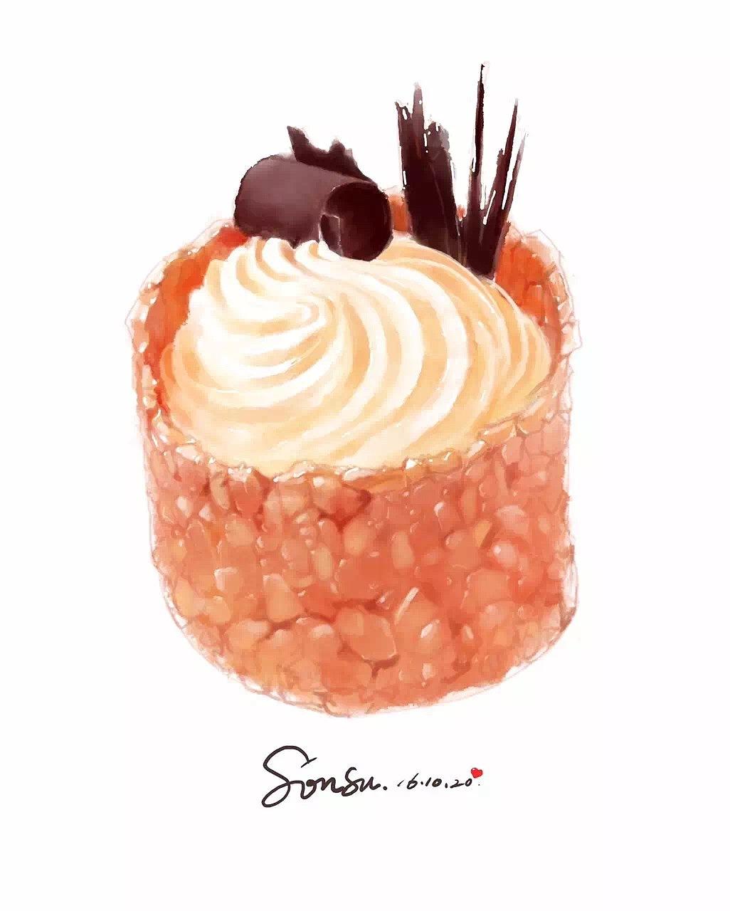 花生奶油蛋糕手绘