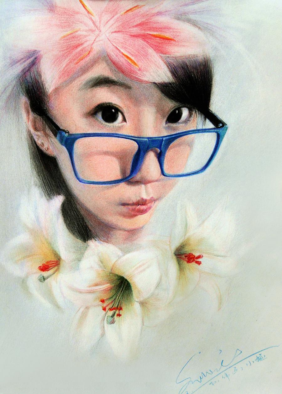 马可水溶和插画彩铅绘制人物写实漫画花油性姐妹图片