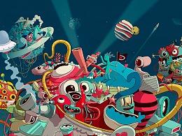 西班牙插画大师Oscar Llorens为电视节目创作视觉插画