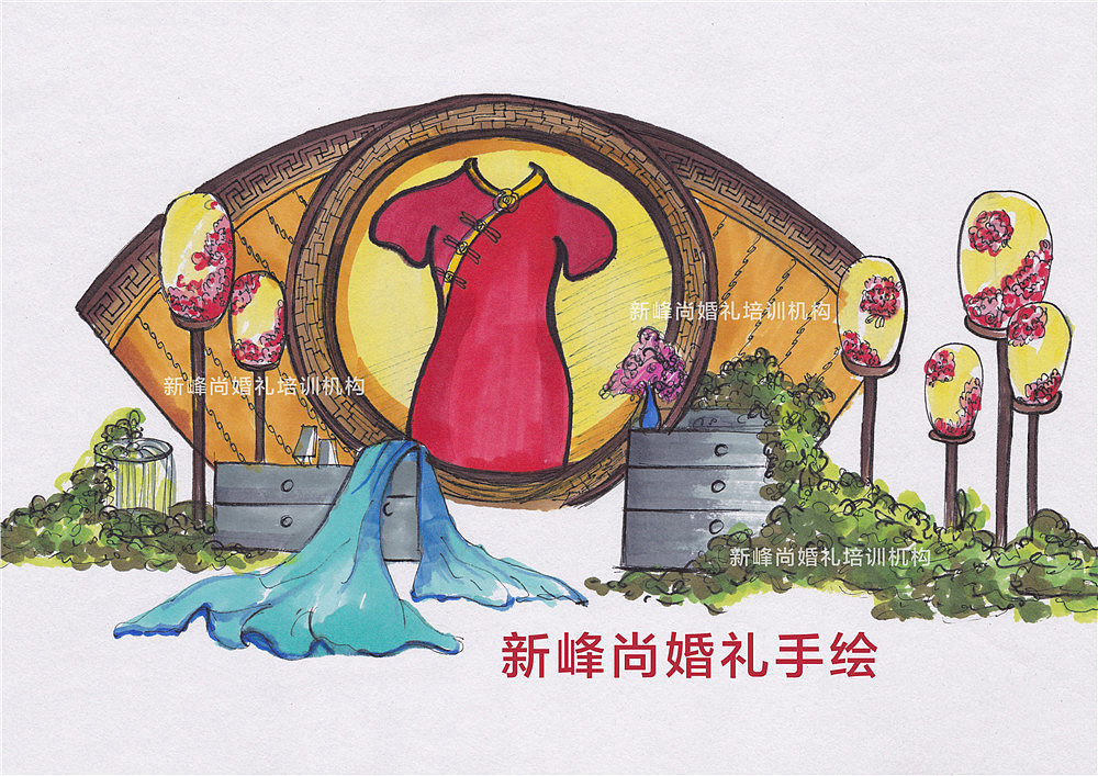 中国风婚礼展示区手绘效果图#婚礼手绘效果图##婚礼手绘培训#qq