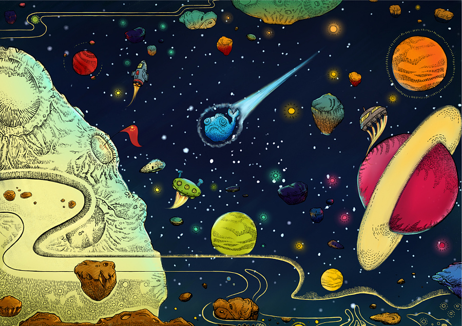 外太空儿童画图片