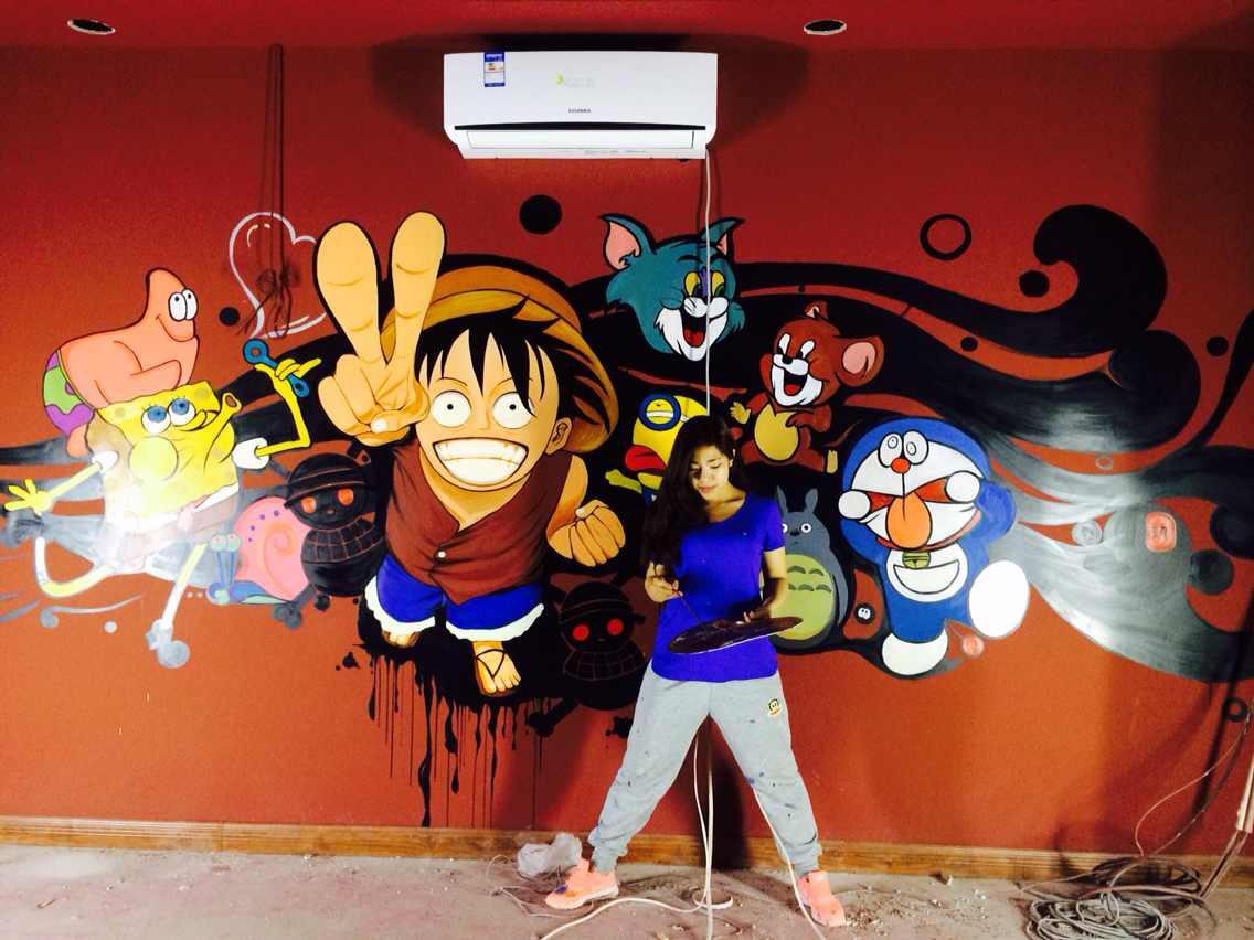 墙体手绘|其他|墙绘/立体画|angell格 - 原创作品