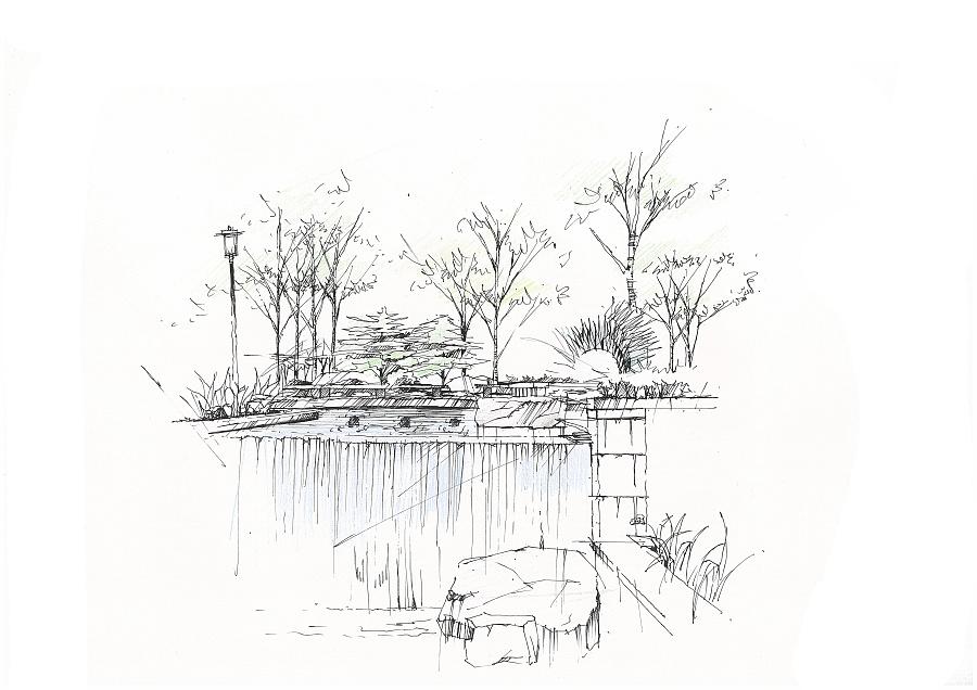 环艺手绘|园林景观/规划|空间/建筑|一个眼神