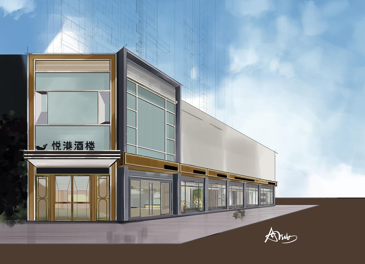 广州悦港酒楼外观 (电脑手绘效果图)|空间|室内设计|a