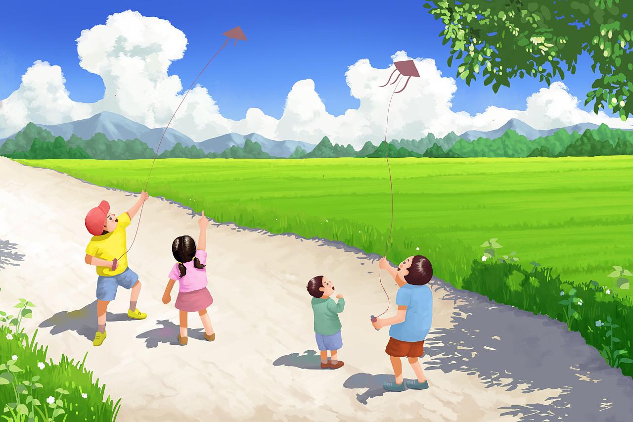 放风筝卡通-童年回忆 六一快乐图片